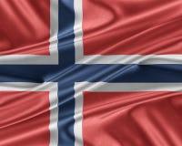 De vlag van Noorwegen met een glanzende zijdetextuur vector illustratie