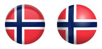 De vlag van Noorwegen onder 3d koepelknoop en op glanzende gebied/bal royalty-vrije illustratie