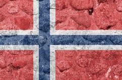 De Vlag van Noorwegen op een steenmuur vector illustratie