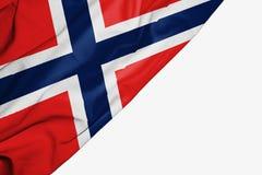 De vlag van Noorwegen van stof met copyspace voor uw tekst op witte achtergrond vector illustratie
