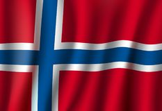De vlag van Noorwegen vector 3D nationaal symbool als achtergrond vector illustratie