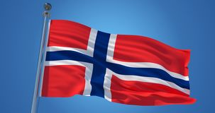 De vlag van Noorwegen in de wind tegen duidelijke blauwe hemel, 3d illustratie stock illustratie