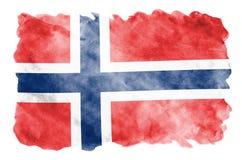 De vlag van Noorwegen wordt in vloeibare waterverfstijl afgeschilderd die op witte achtergrond wordt geïsoleerd royalty-vrije illustratie
