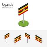 De vlag van Oeganda, vectorreeks 3D isometrische vlakke pictogrammen Stock Afbeelding