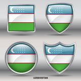 De Vlag van Oezbekistan in 4 vormeninzameling met het knippen van weg Stock Afbeeldingen