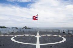 De vlag van olifantsthailand en de blauwe hemel zijn achtergrond Stock Foto