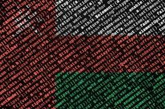De vlag van Oman wordt afgeschilderd op het scherm met de programmacode Het concept moderne technologie en plaatsontwikkeling royalty-vrije stock afbeelding