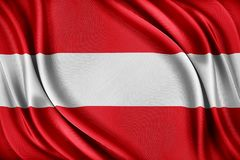 De Vlag van Oostenrijk Vlag met een glanzende zijdetextuur Stock Foto
