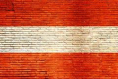 De vlag van Oostenrijk op een bakstenen muur wordt geschilderd die 3D Illustratie Stock Fotografie