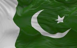De vlag van Pakistan die in de 3d wind golven geeft terug Stock Afbeeldingen