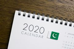 De Vlag van Pakistan op de Kalender van 2020 stock afbeeldingen