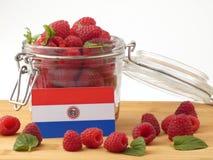 De vlag van Paraguay op een houten die paneel met frambozen op w wordt geïsoleerd stock fotografie