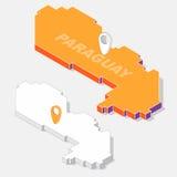 De vlag van Paraguay op kaartelement met 3D isometrische die vorm op achtergrond wordt geïsoleerd Stock Afbeeldingen