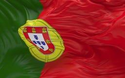 De vlag van Portugal die in de 3d wind golven geeft terug Royalty-vrije Stock Afbeeldingen