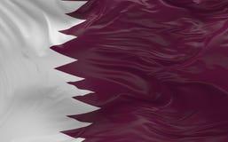 De vlag van Qatar die in de 3d wind golven geeft terug Stock Foto
