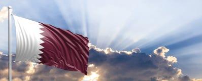 De vlag van Qatar op blauwe hemel 3D Illustratie royalty-vrije illustratie