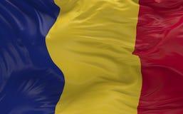 De vlag van Roemenië die in de 3d wind golven geeft terug Royalty-vrije Stock Afbeelding