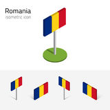 De vlag van Roemenië, vectorreeks 3D isometrische pictogrammen Royalty-vrije Stock Foto's