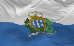 De vlag van San Marino die in de 3d wind golven geeft terug Stock Afbeelding