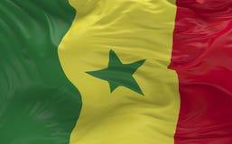 De vlag van Senegal die in de 3d wind golven geeft terug Stock Foto's