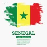 De Vlag van Senegal met Borstelslagen Stock Fotografie