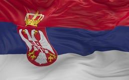 De vlag van Servië die in de 3d wind golven geeft terug Stock Foto