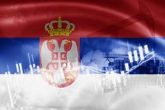 De vlag van Servië, effectenbeurs, uitwisselingseconomie en Handel, olieproductie, containerschip in de uitvoer en de invoerzaken royalty-vrije stock afbeelding