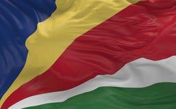 De vlag van de Seychellen die in de 3d wind golven geeft terug Stock Foto