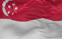 De vlag van Singapore die in de 3d wind golven geeft terug Stock Afbeelding