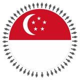 De vlag van Singapore met cirkel van mensen stock illustratie