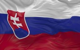 De vlag van Slowakije die in de 3d wind golven geeft terug Stock Afbeelding