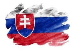De vlag van Slowakije wordt in vloeibare die waterverfstijl afgeschilderd op witte achtergrond wordt geïsoleerd stock foto's