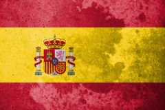 De Vlag van Spanje op de achtergrond van de steentextuur Stock Foto