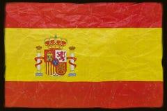 De vlag van Spanje op zwarte Stock Afbeelding
