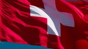 De Vlag van de staat van Zwitserland stock videobeelden