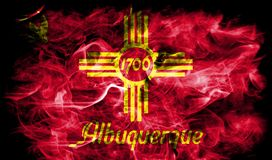 De vlag van de de stadsrook van Albuquerque, de Staat van New Mexico, Verenigde Staten van Royalty-vrije Stock Afbeelding