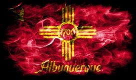 De vlag van de de stadsrook van Albuquerque, de Staat van New Mexico, de Verenigde Staten van Amerika Stock Foto's