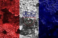 De vlag van de de stadsrook van Cleveland, de Staat van Ohio, de Verenigde Staten van Amerika Stock Fotografie