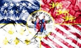 De vlag van de de stadsrook van Detroit, de Staat van Michigan, de Verenigde Staten van Amerika Royalty-vrije Stock Foto's