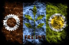 De vlag van de de stadsrook van Fresno, de Staat van Californië, Verenigde Staten van Ameri Stock Foto