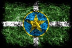 De vlag van de de stadsrook van Jackson, de Staat van de Mississippi, Verenigde Staten van Ame stock afbeeldingen