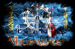 De vlag van de de stadsrook van Millwaukee, de Staat van Wisconsin, de Verenigde Staten van Amerika Royalty-vrije Stock Fotografie