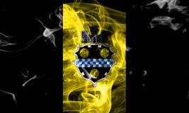 De vlag van de de stadsrook van Pittsburgh, de Staat van Pennsylvania, Verenigde Staten van Stock Fotografie