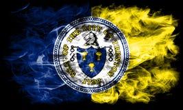 De vlag van de de stadsrook van Trenton, de Staat van New Jersey, de Verenigde Staten van Amerika Royalty-vrije Stock Foto's