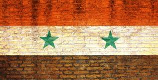De vlag van Syrië op een bakstenen muur wordt geschilderd die 3D Illustratie Royalty-vrije Stock Afbeelding