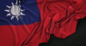 De Vlag van Taiwan op Donkere 3D die Achtergrond wordt gerimpeld geeft terug royalty-vrije illustratie