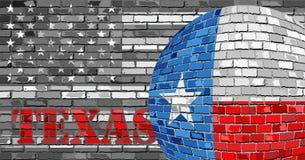 De vlag van Texas op de grijze V.S. markeert achtergrond Royalty-vrije Stock Fotografie