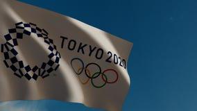 De vlag van Tokyo 2020 in wind 3d animatie stock footage