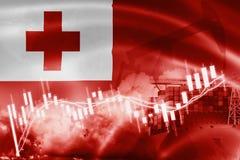 De vlag van Tonga, effectenbeurs, uitwisselingseconomie en Handel, olieproductie, containerschip in de uitvoer en de invoerzaken  stock foto