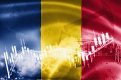 De vlag van Tsjaad, effectenbeurs, uitwisselingseconomie en Handel, olieproductie, containerschip in de uitvoer en de invoerzaken vector illustratie